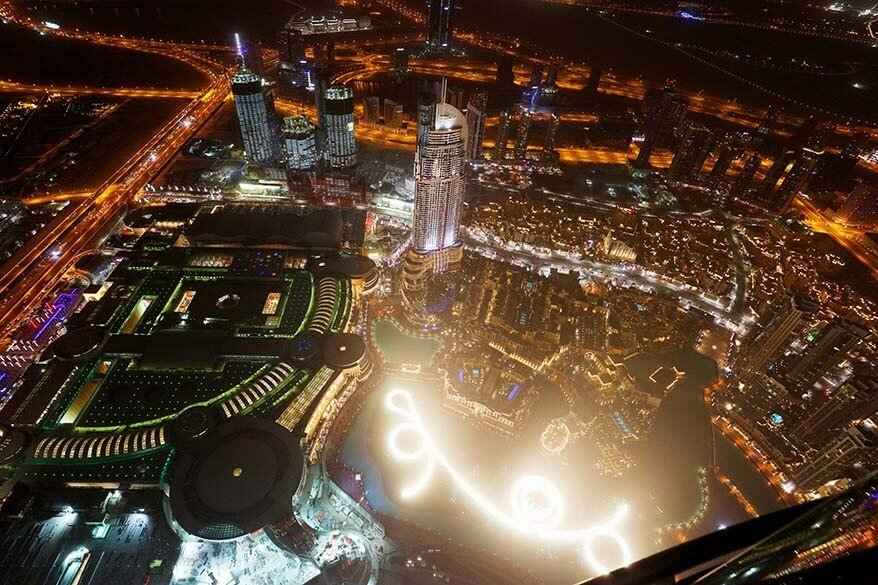 Dubai Fountain Show as seen from the top of Burj Khalifa at night