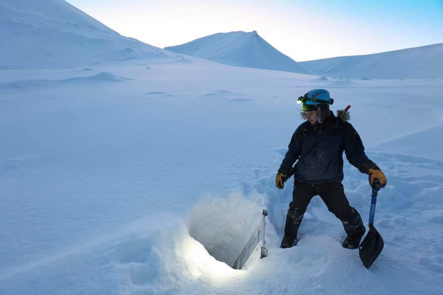 Entrance to ice caves at Scott Turner Glacier in Spitsbergen