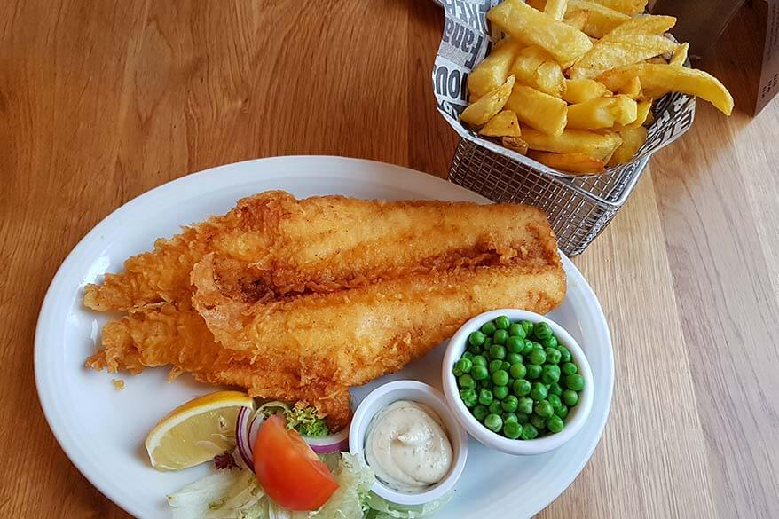 Fish and chips in a restaurant in Edinburgh
