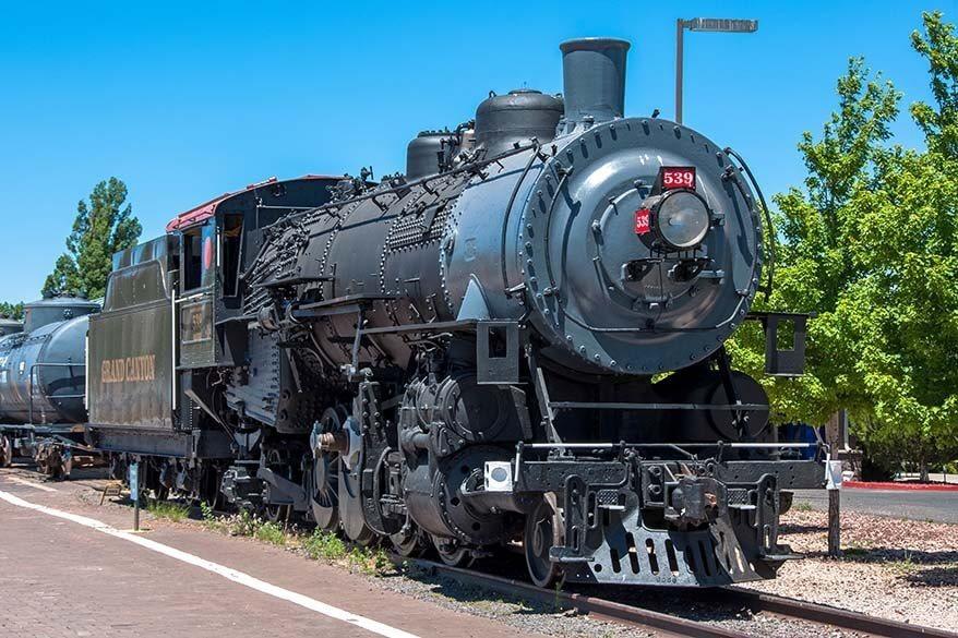 Historic Grand Canyon Railway train in Williams in Arizona