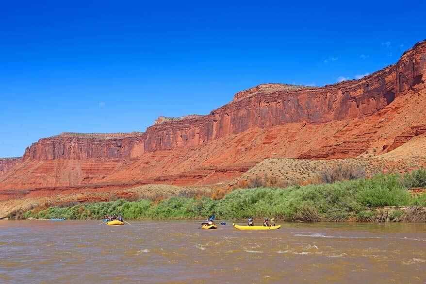 Kayaking and rafting on the Colorado River near Moab Utah