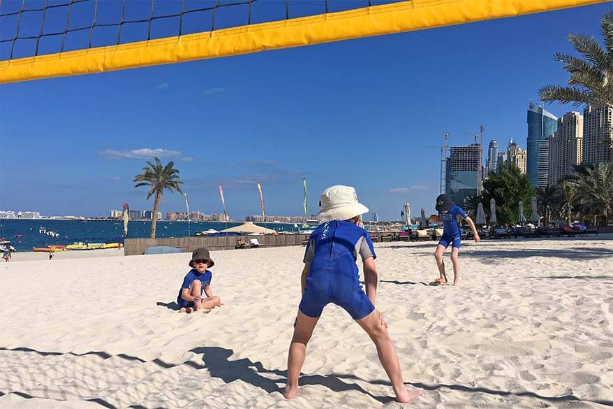 Kids playing at the beach in Dubai
