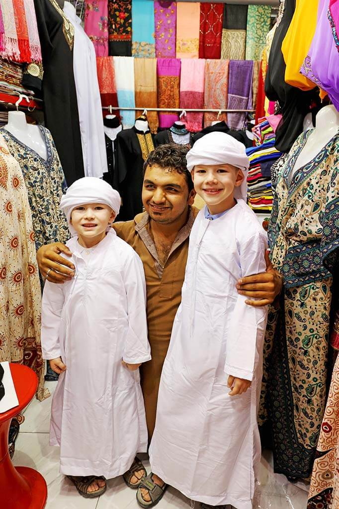 Kids wearing local traditional outfits in Dubai