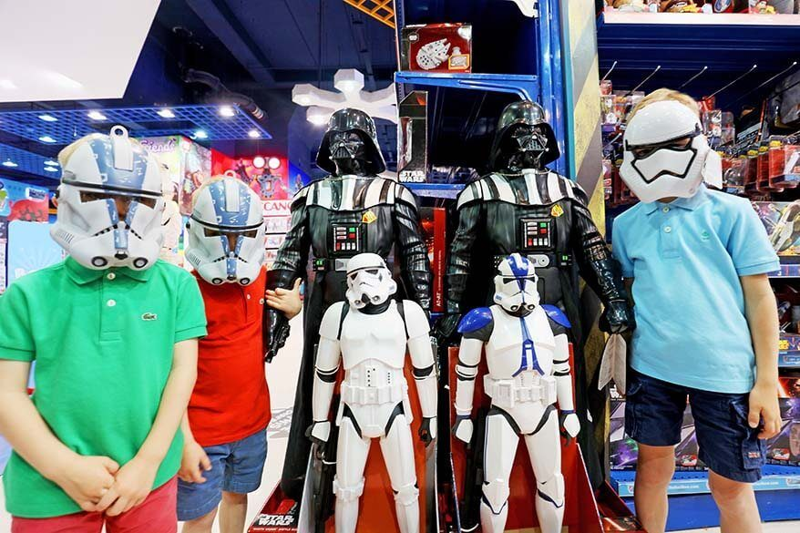 Kids with Star Wars masks at Dubai Mall toy store