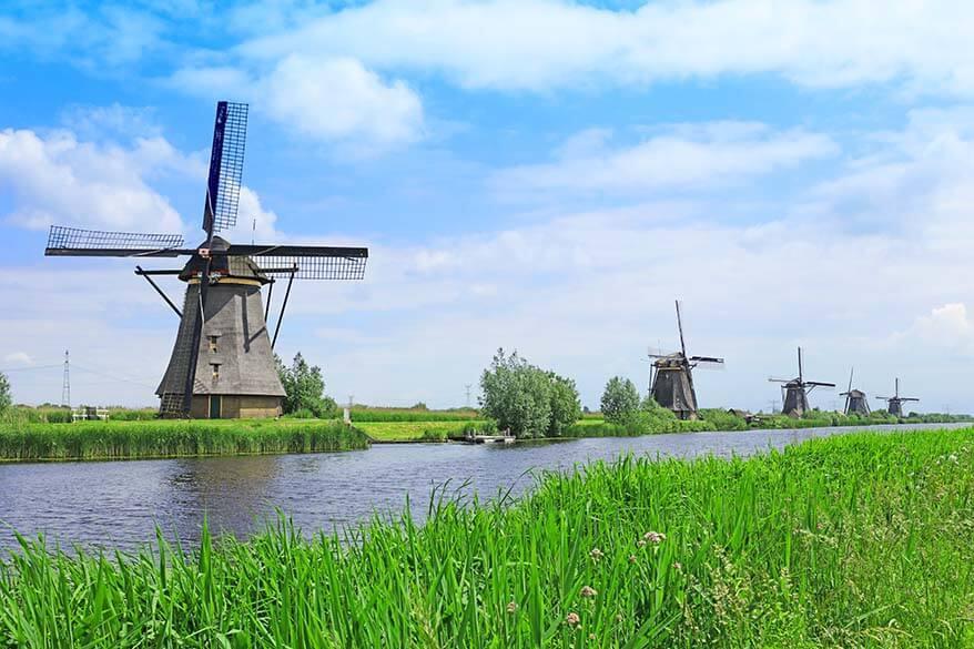 Kinderdijk Windmills in the Netherlands in May