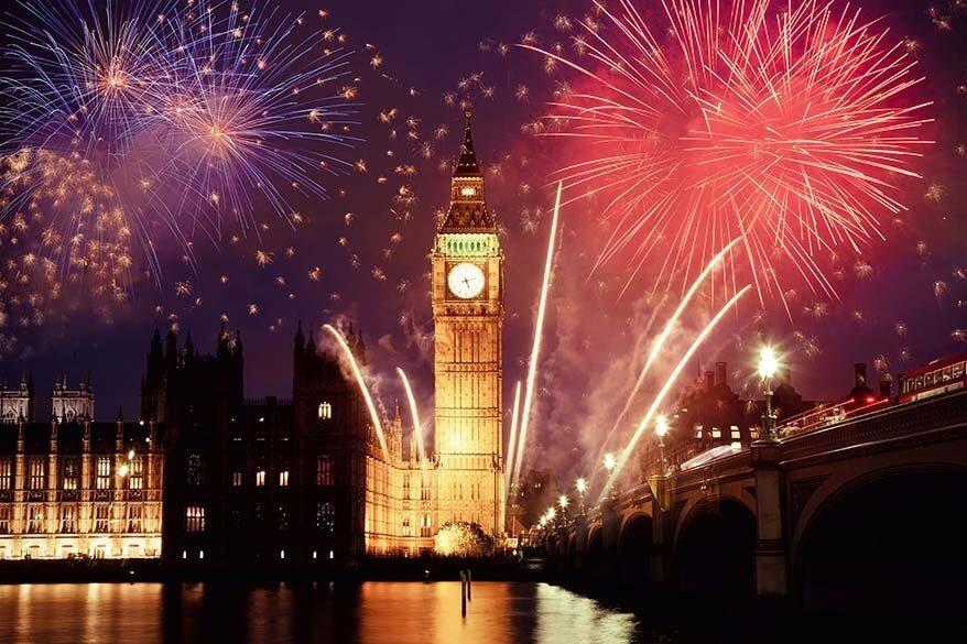 London Bonfire Night fireworks at Big Ben