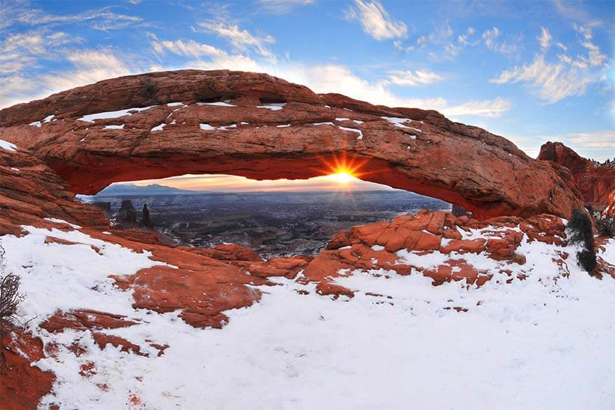 Mesa Arch in Canyonlands National Park in winter