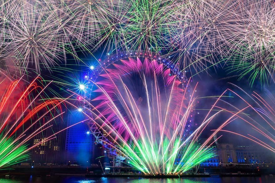 New Year fireworks at London Eye