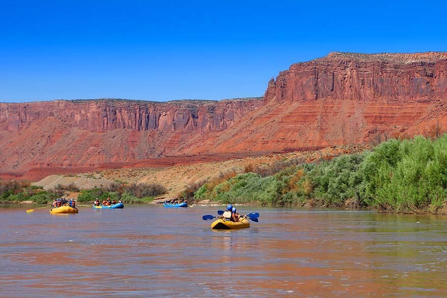 Rafting and kayaking on the Colorado River near Moab