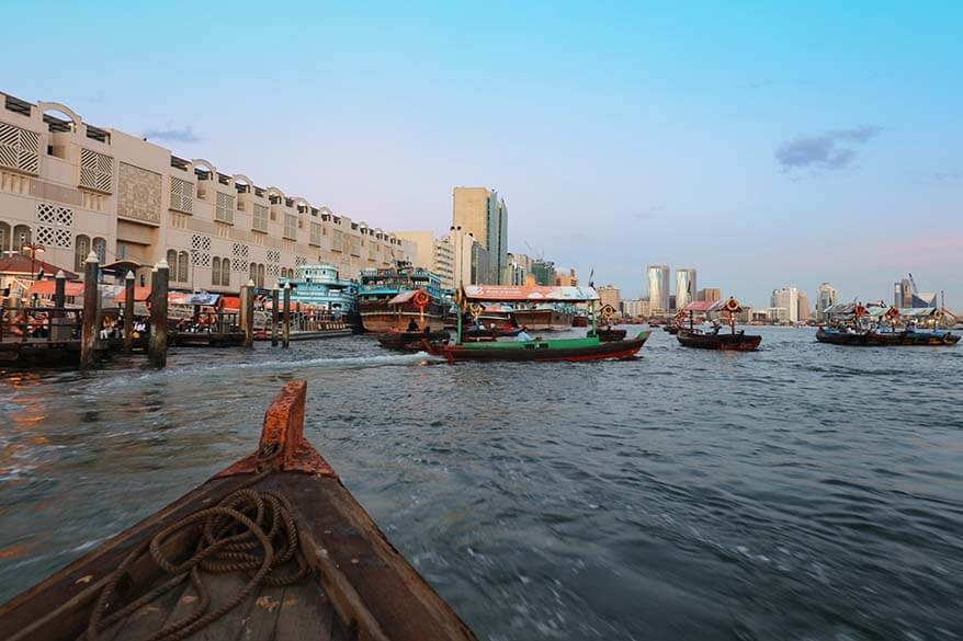 Riding a traditional wooden boat Abra on Dubai Creek