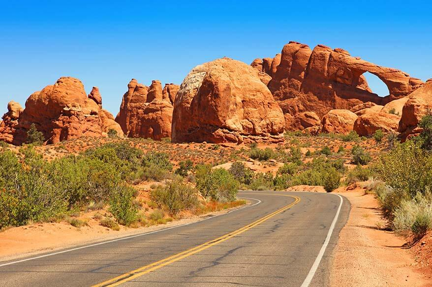 Scenic road in Arches National Park near Moab in Utah