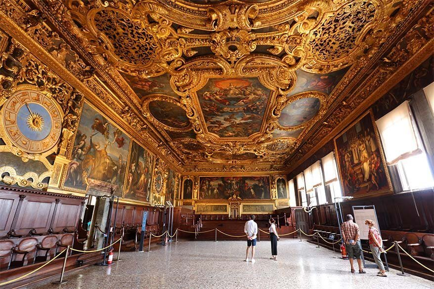 Senate Hall (Sala del Senato) inside Doges Palace in Venice