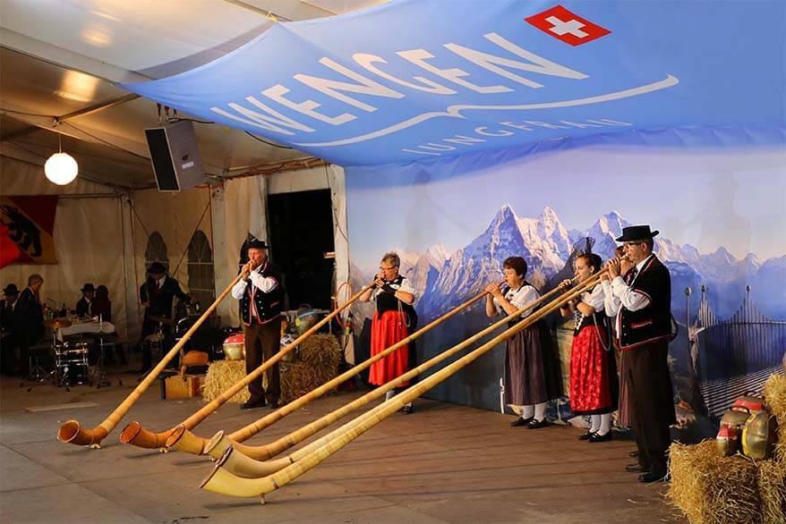Swiss National Day celebrations in Wengen Switzerland