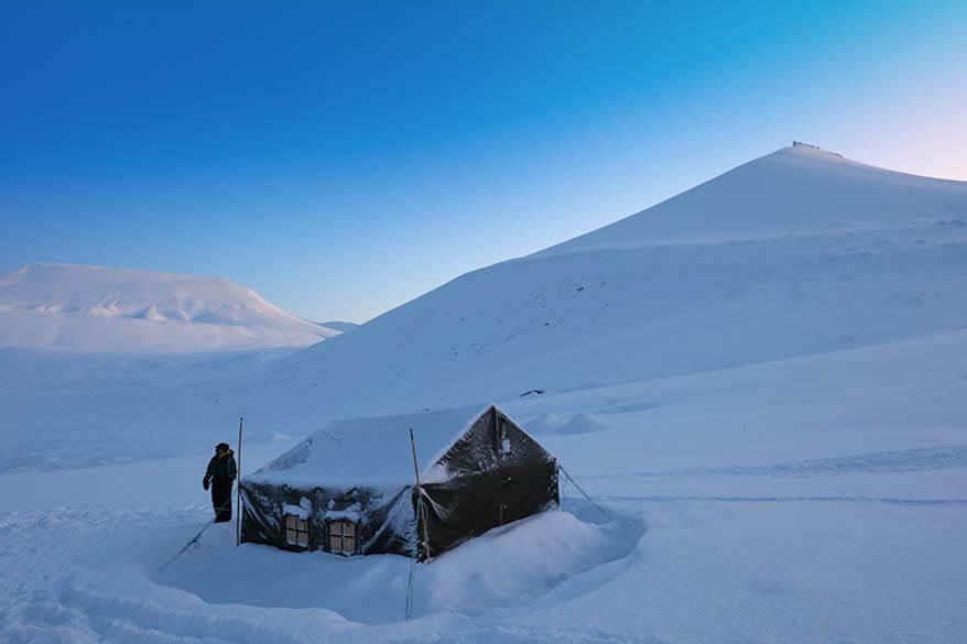 Tent at Scott Turner Glacier in Svalbard in winter