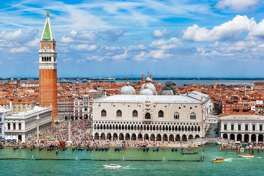 Venice skyline with St Marks Campanile and Doges Palace