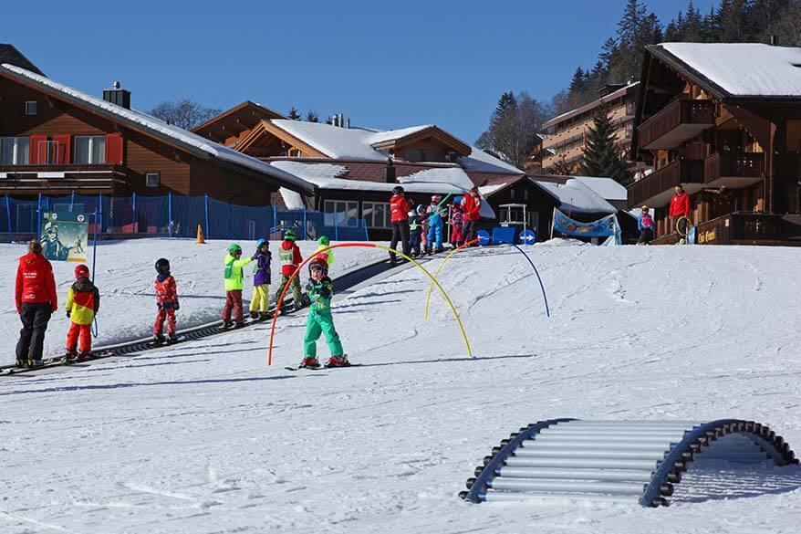 Beginners ski area in Wengen town center