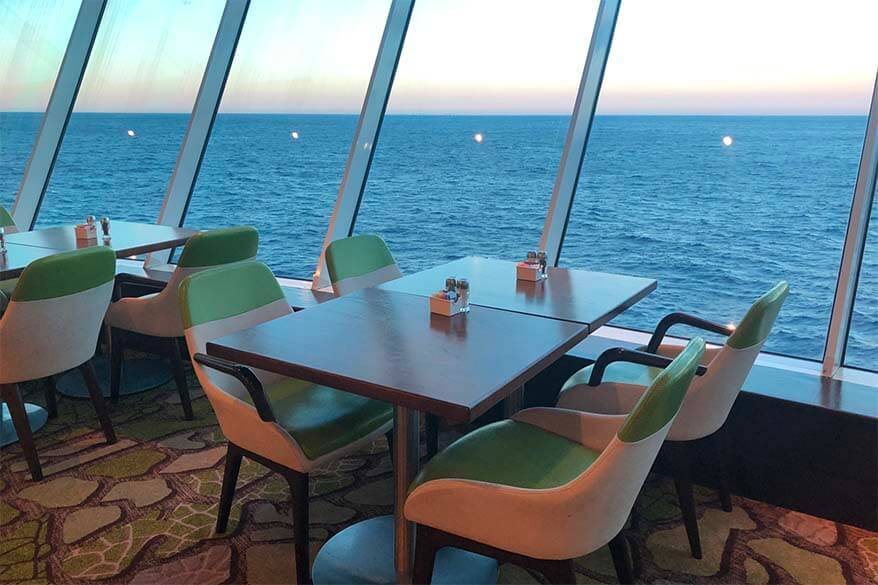 Dining table with sea view on a cruise ship