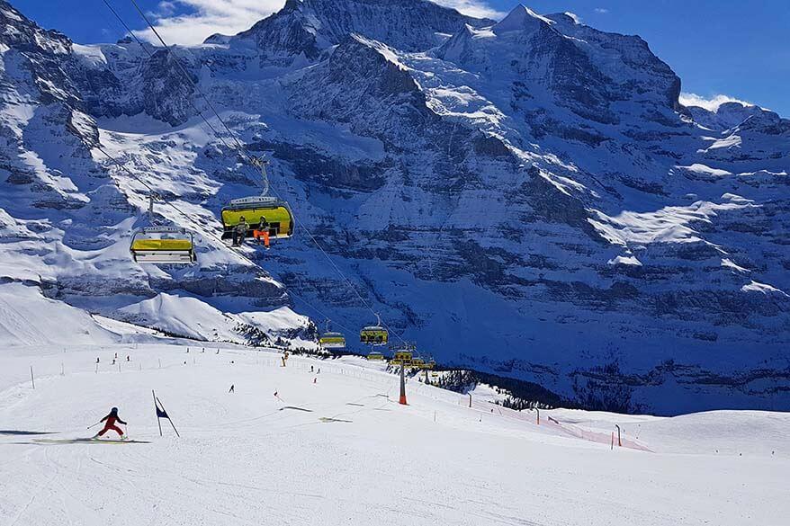 Empty ski slopes in Grindelwald Wengen ski area in March