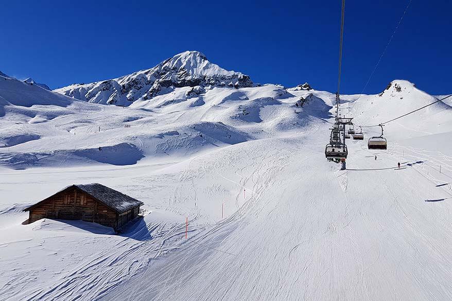 Grindelwald Wengen ski area in Jungfrau Region in Switzerland