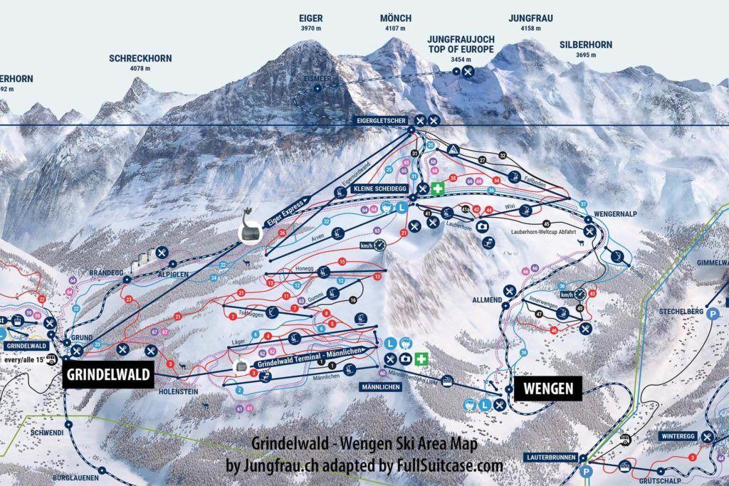 Grindelwald Wengen ski area map