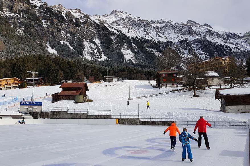 Ice skating in Wengen in winter