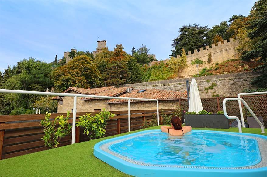 Outdoor hot tub at Grand Hotel San Marino