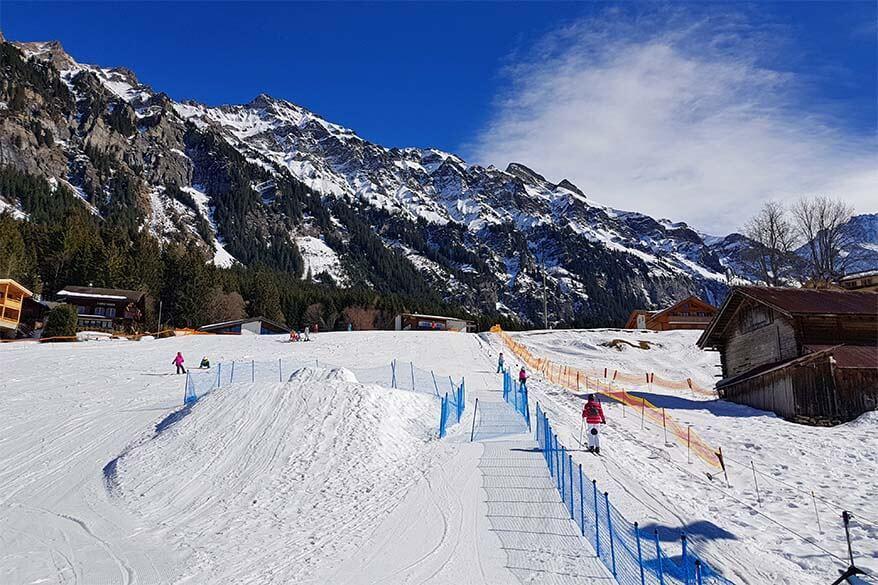 Platter lift at the beginner ski area in Wengen