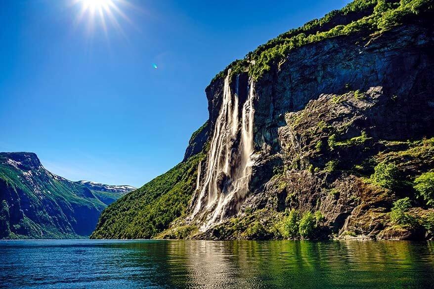 Seven Sisters Waterfall in Geirangerfjord Norway