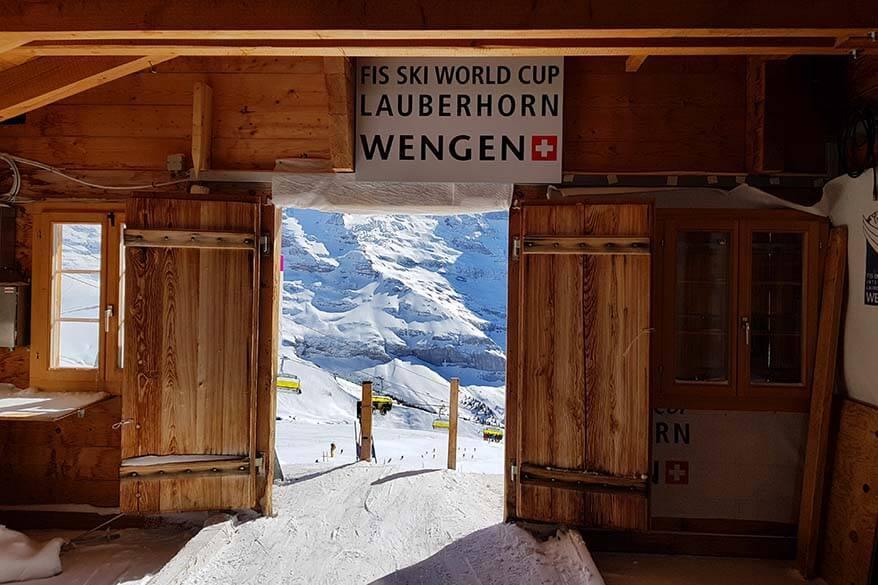 The start of the Lauberhorn ski races in Wengen Switzerland