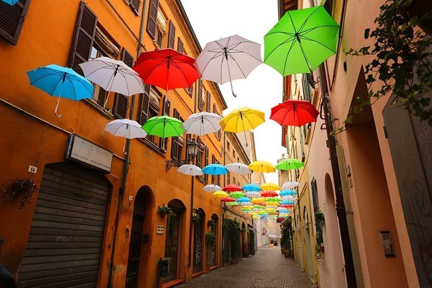 Umbrella street in Ravenna Italy