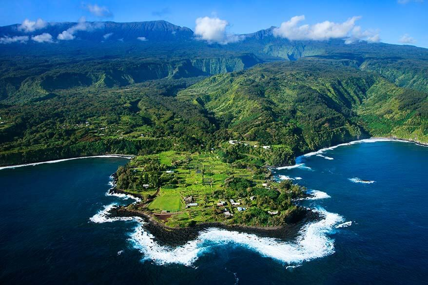 Aerial scenery from Maui helicopter tour