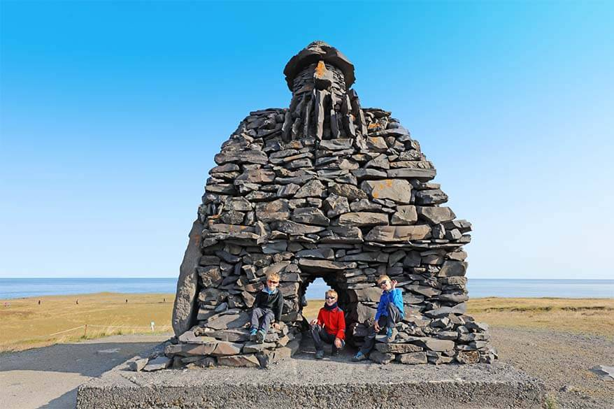 Bardar Saga Snæfellsass Statue in Snaefellsnes Peninsula Iceland