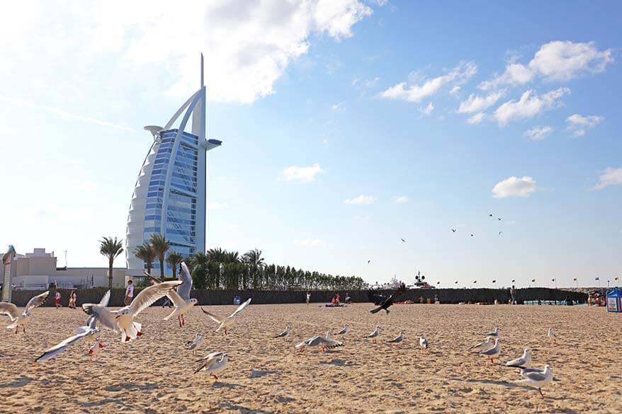 Burj Al Arab hotel in Dubai as seen from Jumeirah Beach