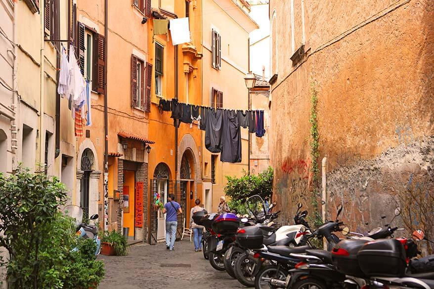 Charming Trastevere district in Rome
