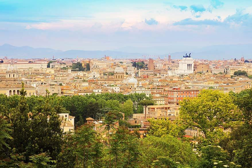 City view from Gianicolo Hill in Rome