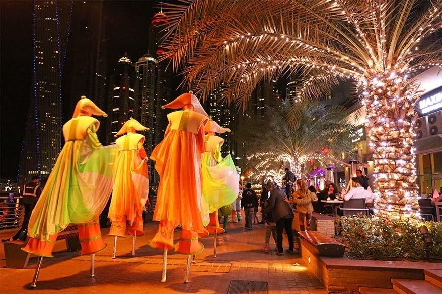 Dubai Marina Festive Parade with street performers