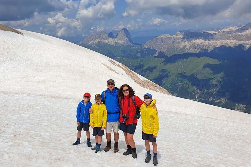 Family picture on Marmolada mountain in the Italian Dolomites