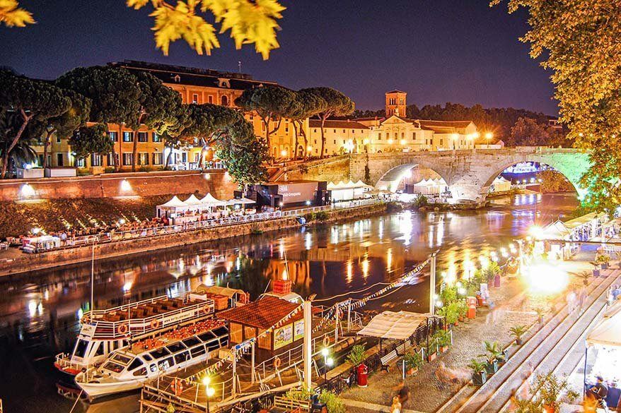 Isola Tiberina in Rome on a summer evening
