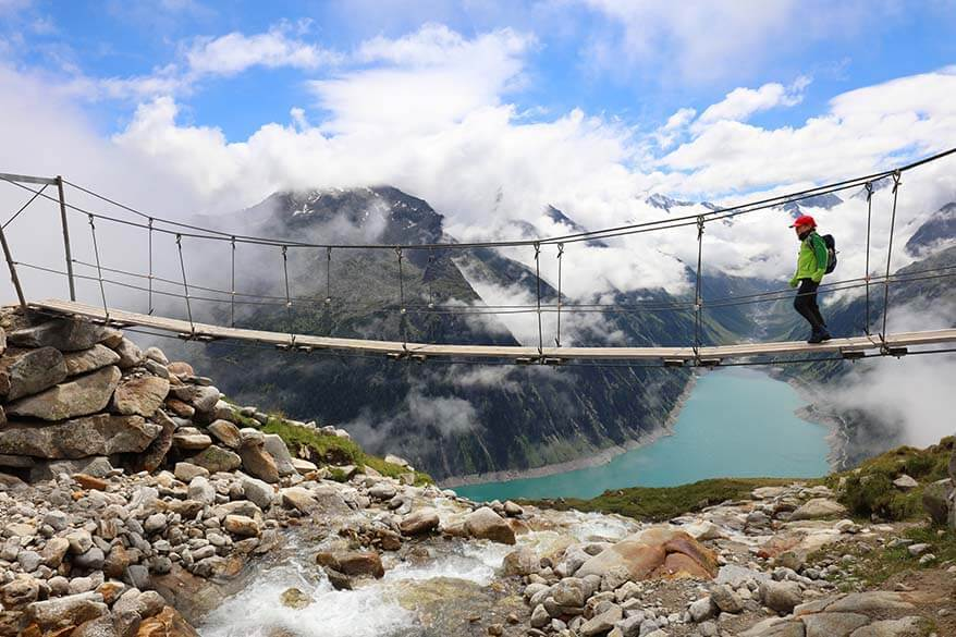 Olpererhutte hike and its famous suspension bridge in Austria