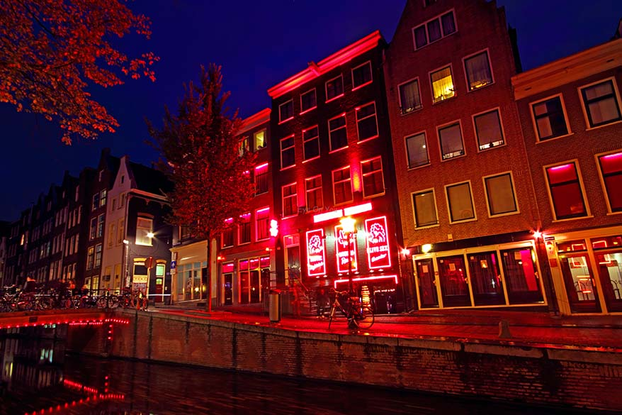 Red Light District in Amsterdam at night
