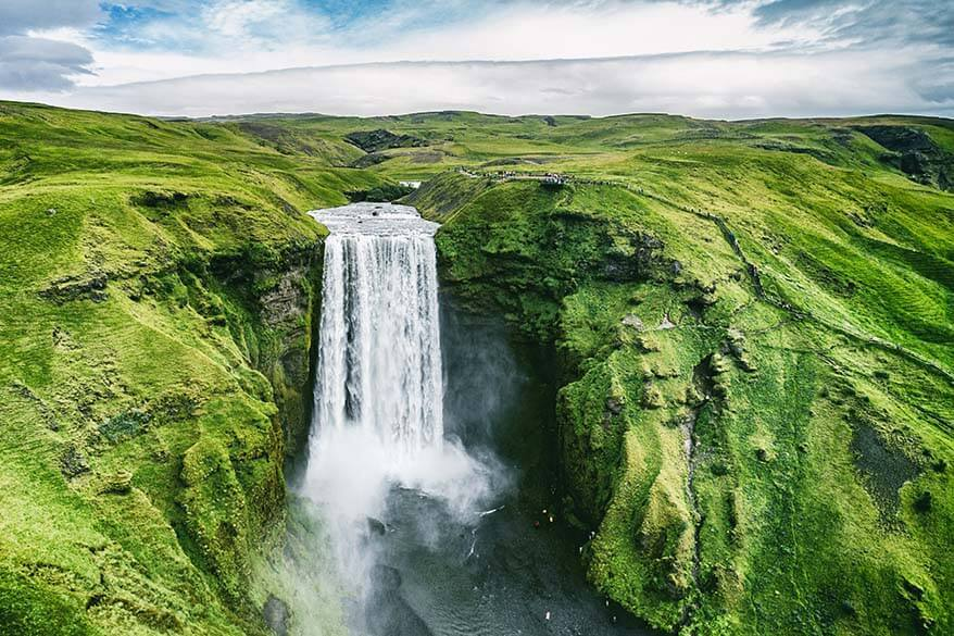 Skogafoss waterfall along Iceland's south coast