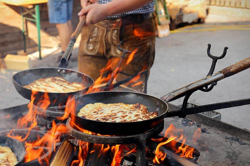 Travel pictures - close-up of traditional pancakes being baked at a local market in Tyrol Austria