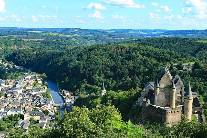 Vianden town and castle in Luxembourg