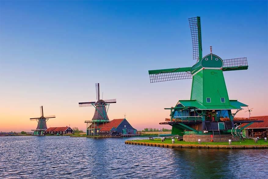 Windmills of Zaanse Schans near Amsterdam