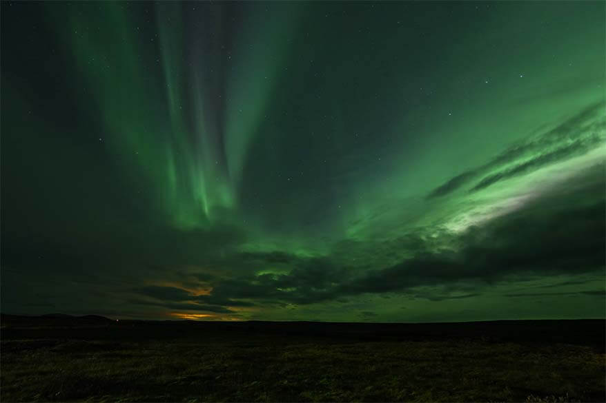 Colorful Northern Lights display in Iceland in September