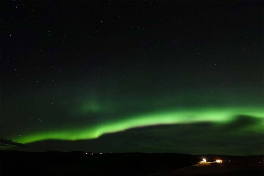 Green auroras in Iceland
