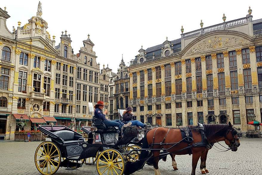 Horse drawn carriages at Brussels Grand Place