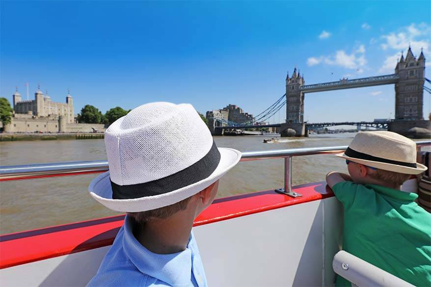 Iconic London landmarks seen from River Thames cruise