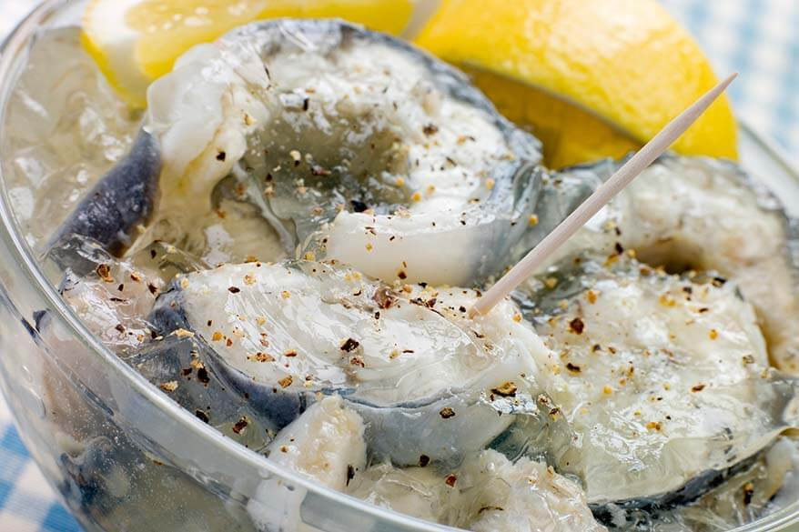 Jellied eels - one of the most special traditional British foods