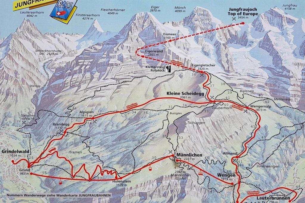 Jungfrau region map - how to get to Jungfraujoch